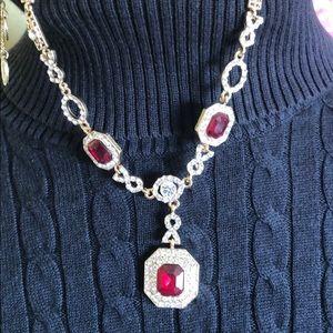 Amrita Singh Red & White Rhinestone Necklace
